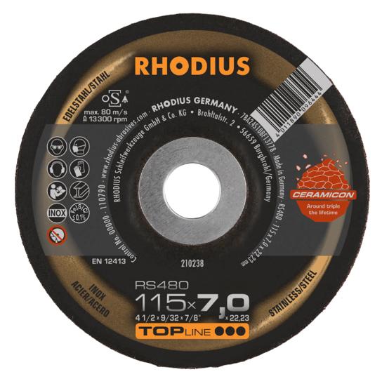 Imagen de DISCO ESMERILAR CER INOX 4.1/2X1/4 RHODIUS 210238